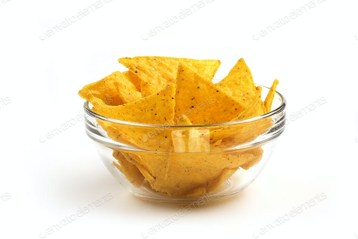 nachos in a glass bowl