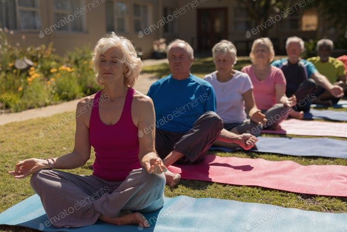 Group of active senior people performing yoga in the park. They are sitting on yoga mat