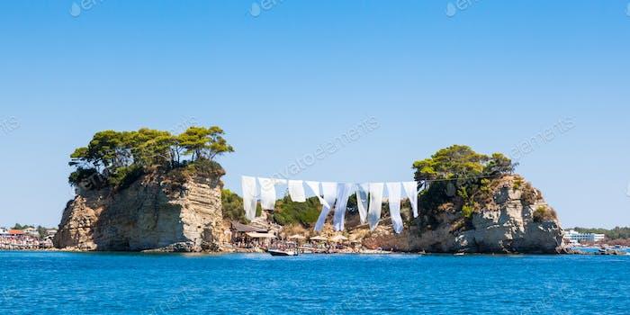 view of Cameo Island in Zakynthos (Zante) island, in Greece