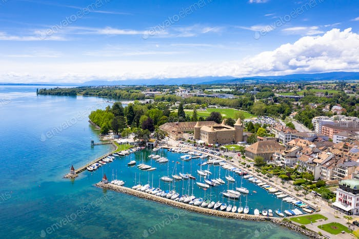 Aerial view of Morges castle in the border of the Leman Lake in