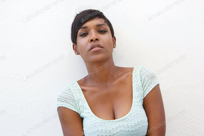 Beautiful young african american woman with short hair