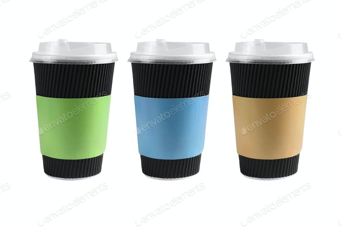 Three Black Paper Cups