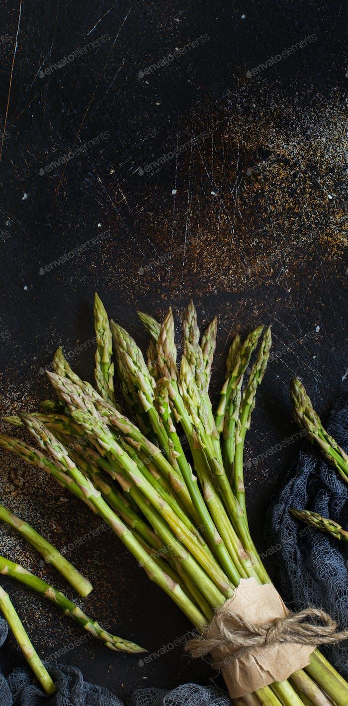 Fresh raw asparagus spears