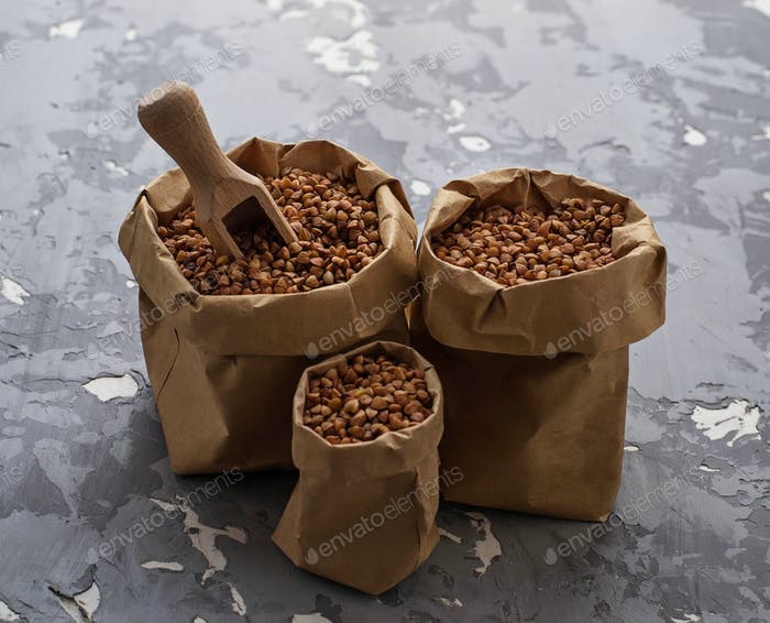 Buckwheat groats in paper bag
