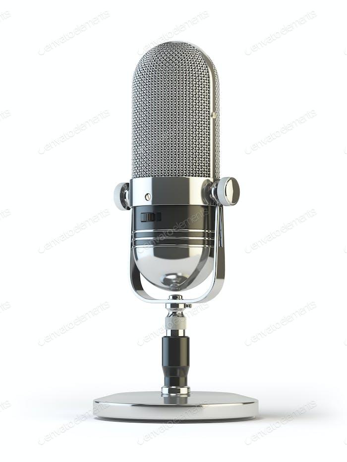Retro altes Mikrofon isoliert auf weiß. Vintage,