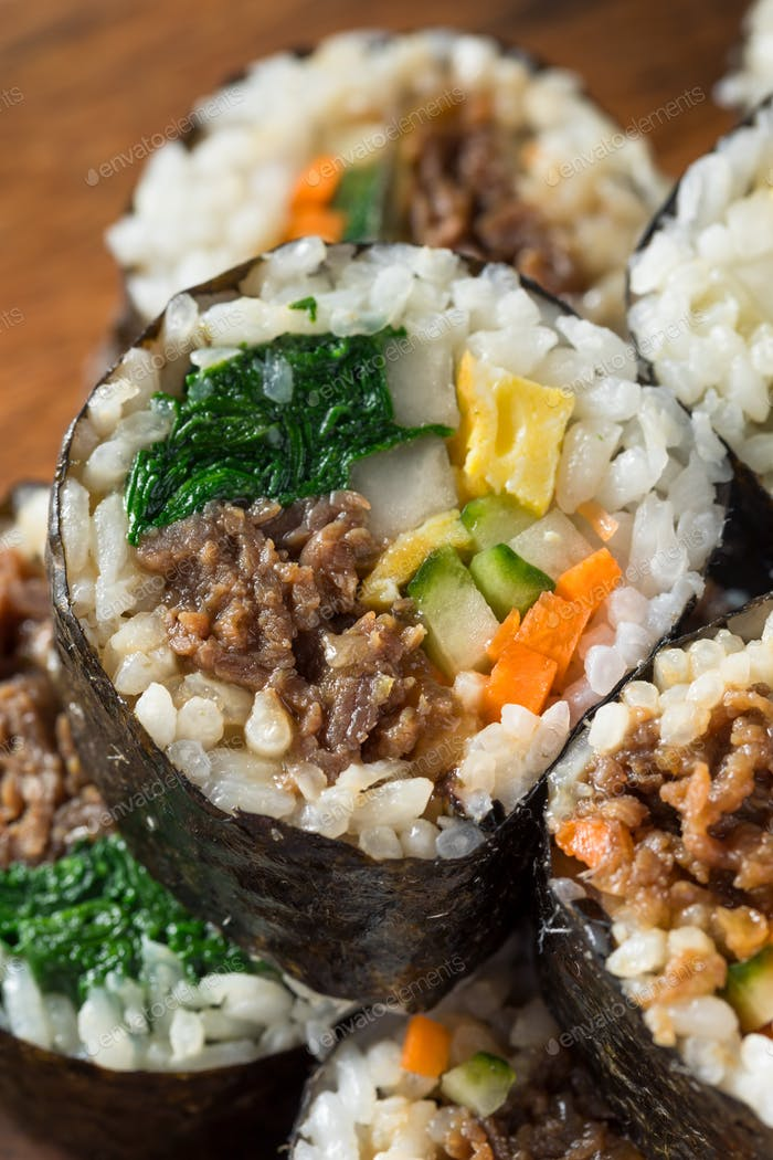Homemade Korean Kimbap Rice Rolls