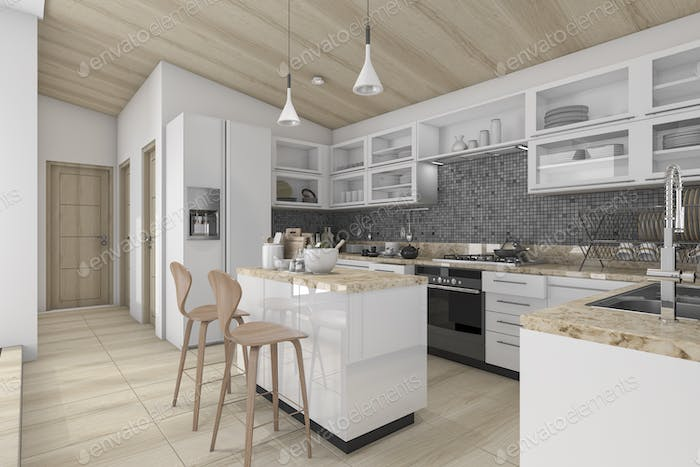 3d rendering nice contemporary wood kitchen and dining counter