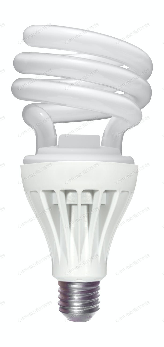 Efficient compact fluorescent light bulb. Isolated on white