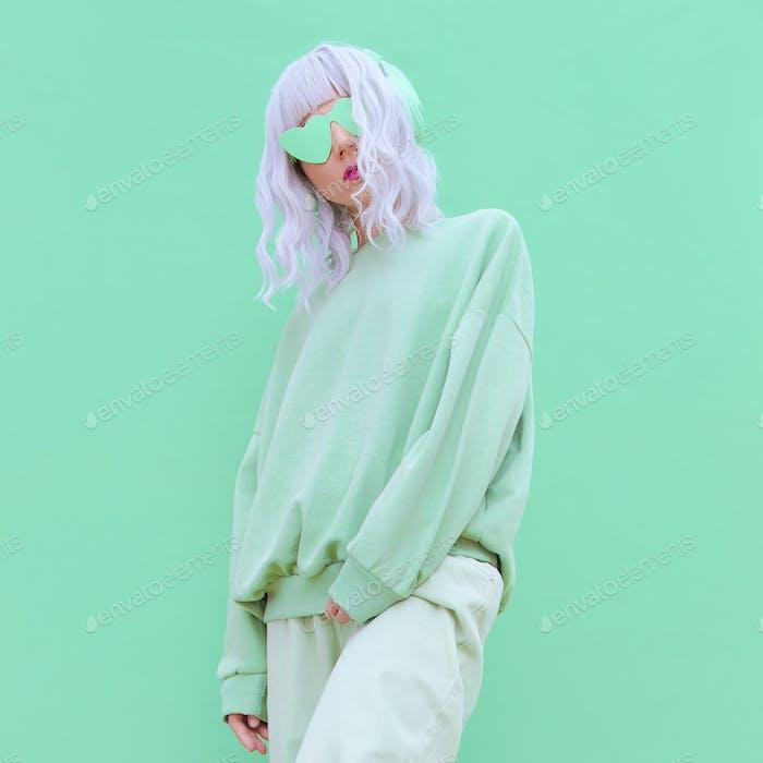 Dj Girl in Fresh Mint Fashion clothing. Minimal aesthetic monochrome design. Aqua menthe color trend