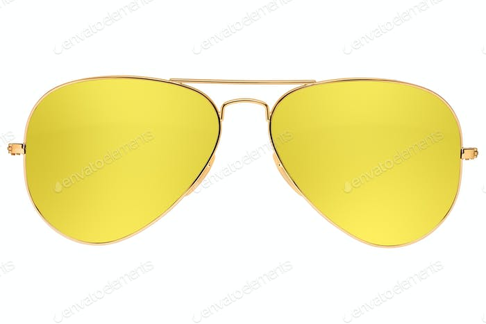 Aviator yellow sunglasses isolated