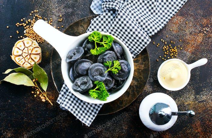 black dumplings
