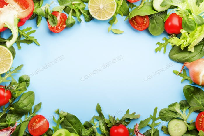 Healthy food background with various green herbs