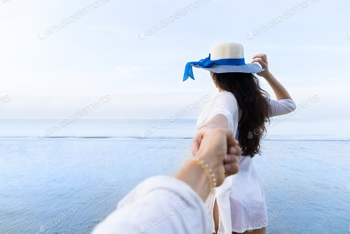 Couple On Beach Summer Vacation, Beautiful Young Girl Hold Male Hand People Looking Sea