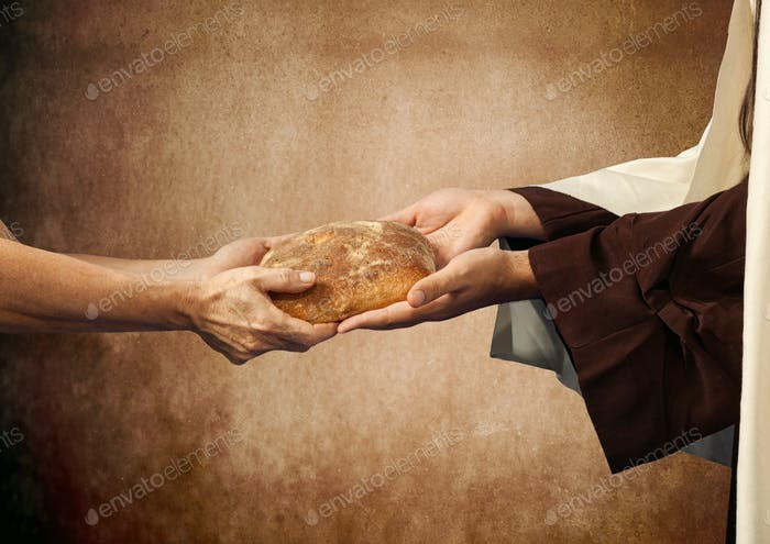 Thumbnail for Jesus gives the bread to a beggar.