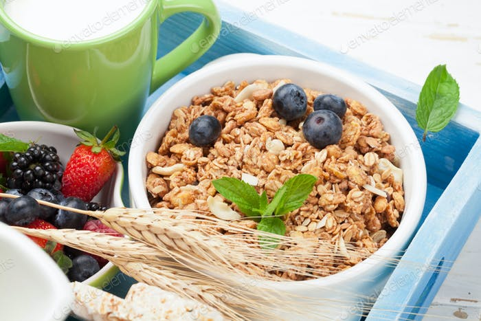 Healthy breakfast with muesli and milk
