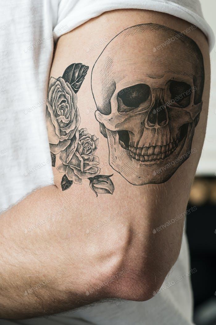 Closeup of tattoo arm of a man