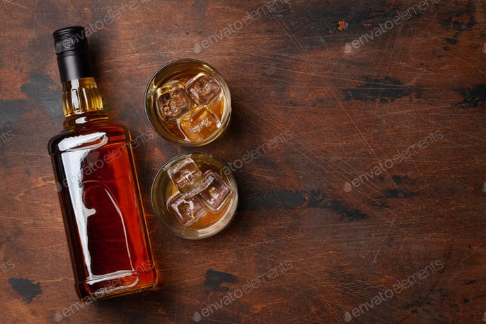 Scotch whiskey bottle and glasses