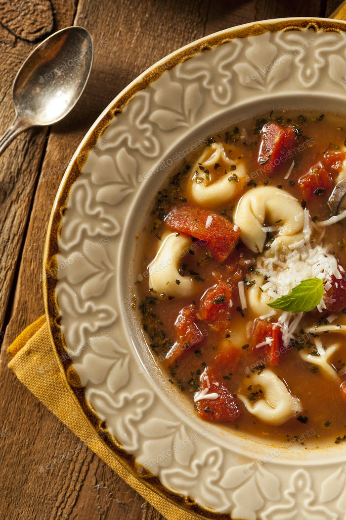 Rustic Homemade Tortellini Soup