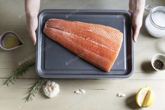 Raw salmon on a tray food photography recipe idea