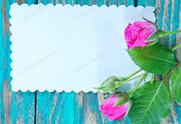 flores y hoja para nota