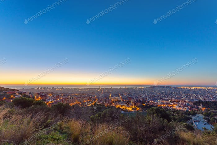 Barcelona panorama at sunrise