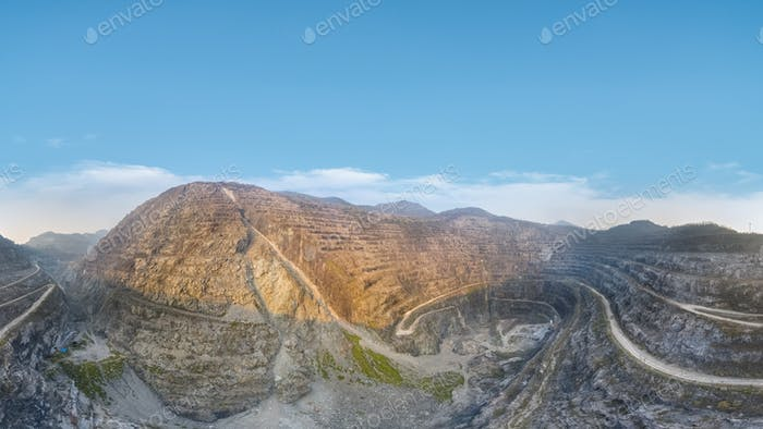 open pit iron mine panorama