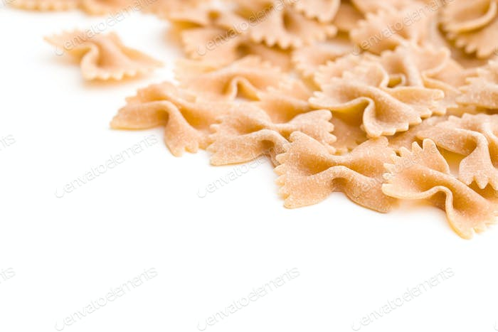 Wholewheat farfalle pasta.