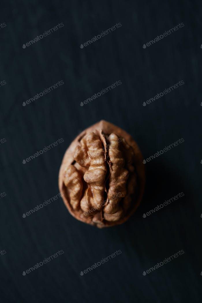 Walnut kernel on a slate backdrop