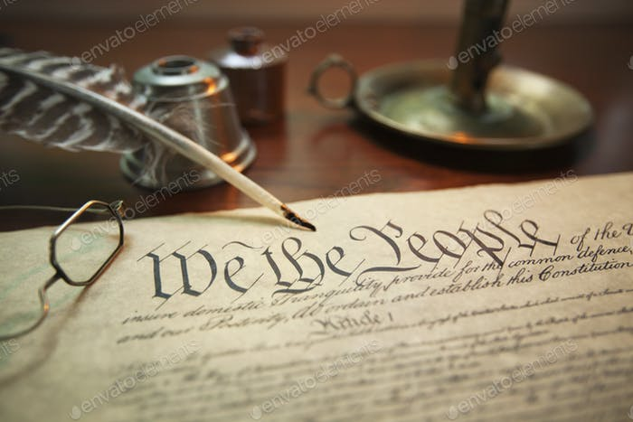 Candle Quill and Inkwell with Constitution of the United States
