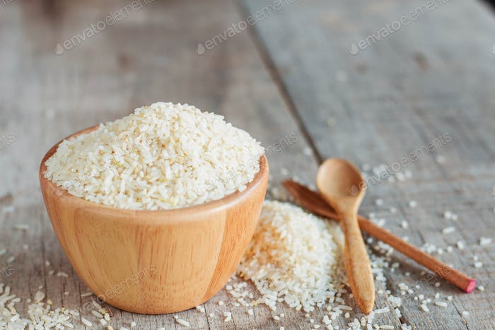 Rice on wooden floor