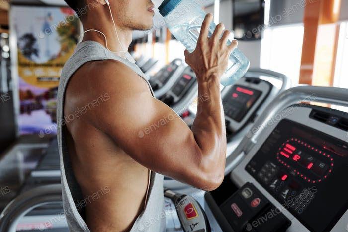 Fit man on treadmill