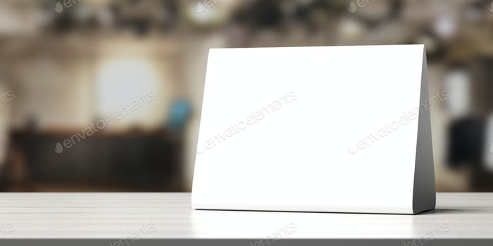 Tienda de campaña, reservado tarjeta signo vacío en blanco en una mesa de madera, ilustración 3D
