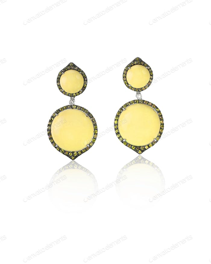Yellow gold and diamond fashion earrings with gemstone halo