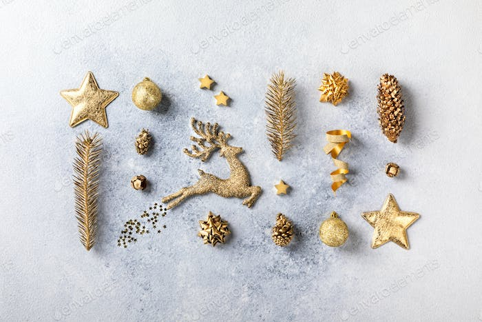 Christmas or New Year composition in gold color .