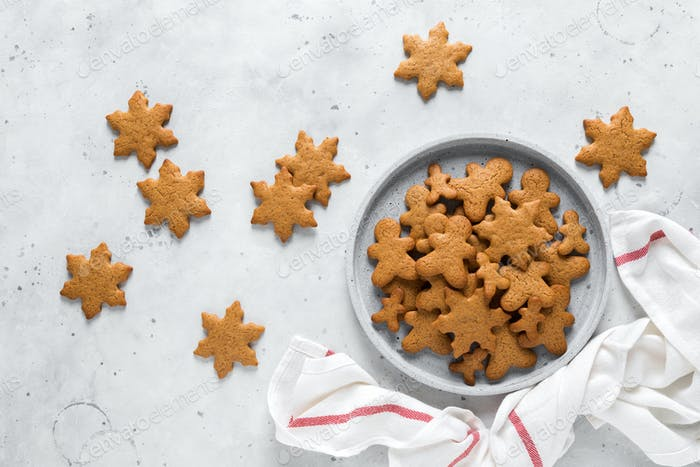 Christmas, X-mas or New Year baking culinary background. Xmas festive holiday gingerbread cookies