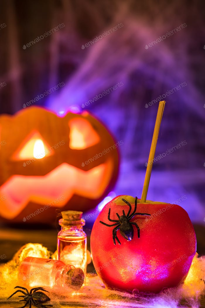 Candy apple, traditional Halloween food