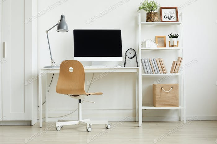 All-White Home Office Interior