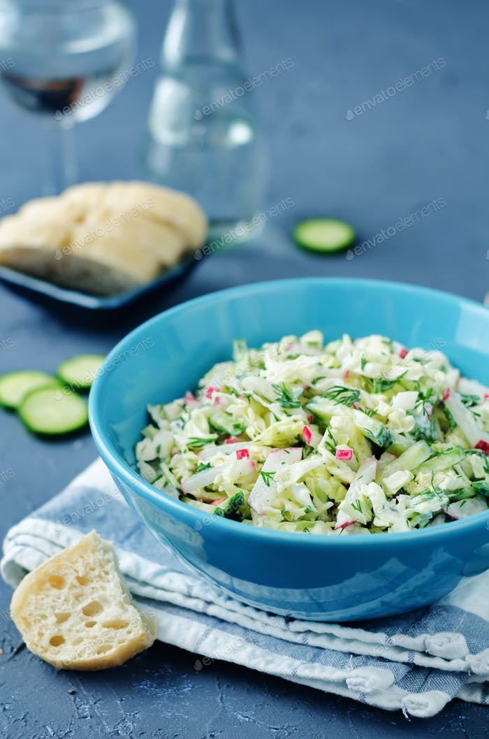 Cabbage radish cucumber dill salad with greek yogurt dressing