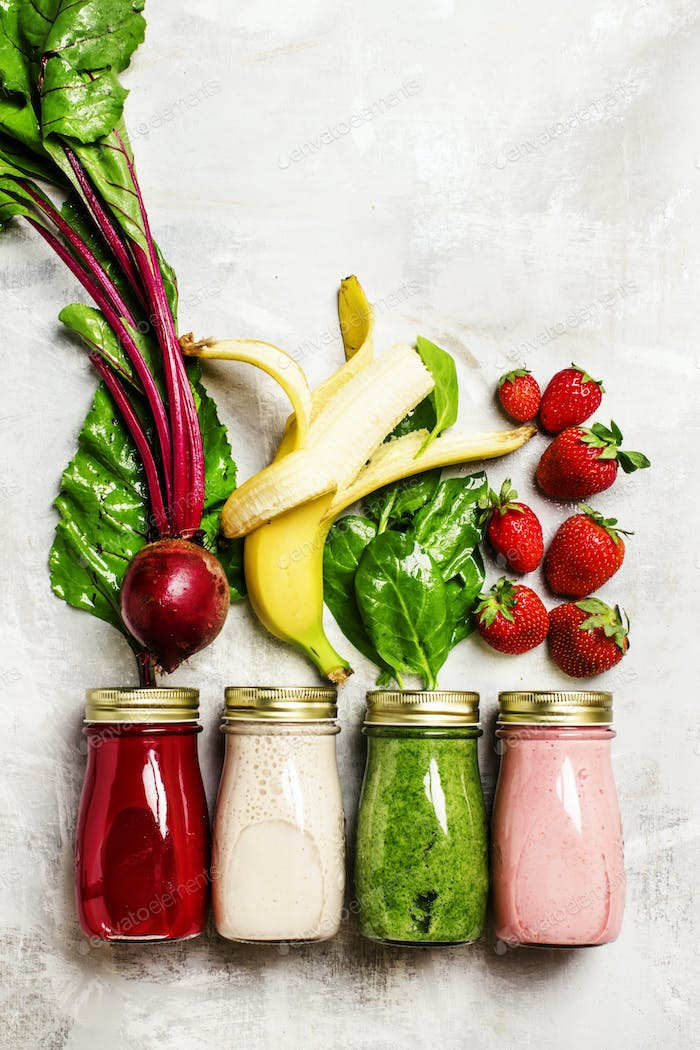smoothies of fresh vegetables, fruits and berries