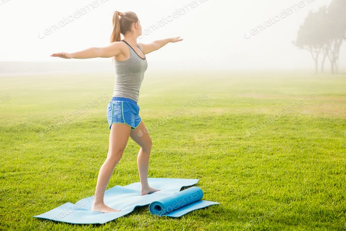 Sporty blonde doing yoga on exercise mat in parkland