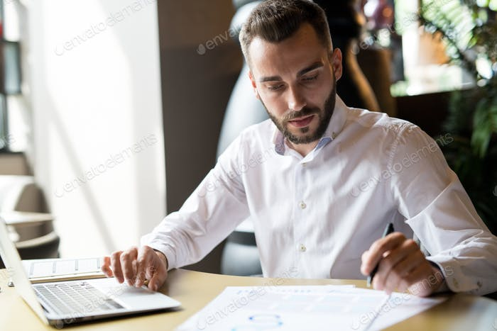 Handsome Businessman Busy Working