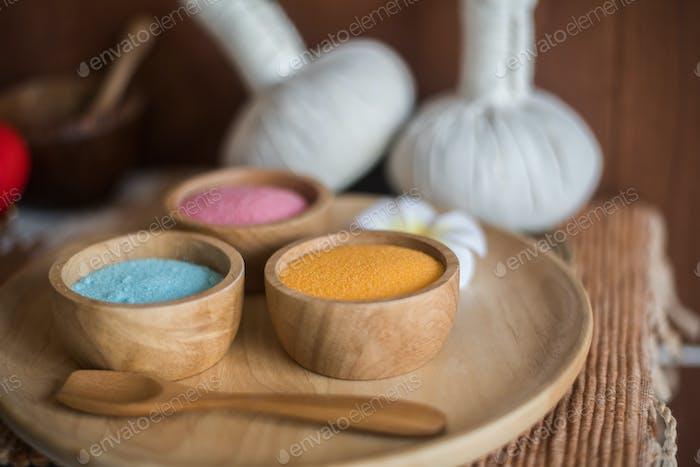 Salt scrub beauty treatment in the health spa.