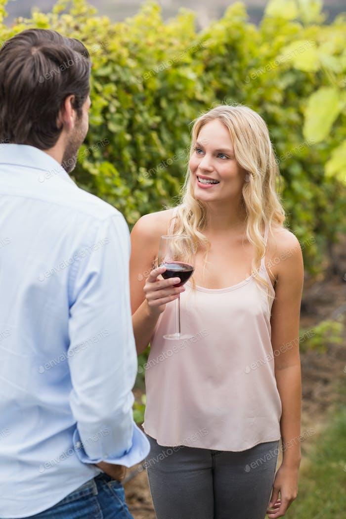 Mujer Alegre joven sonriendo al Hombre joven en los campos de uva
