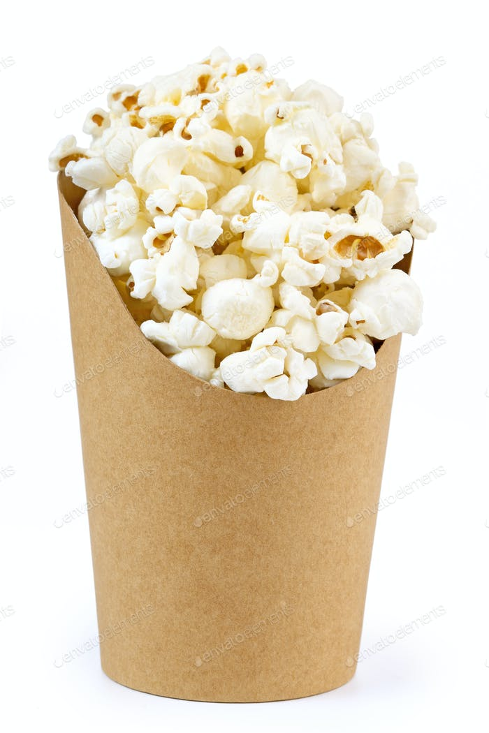 cardboard bucket full of popcorn