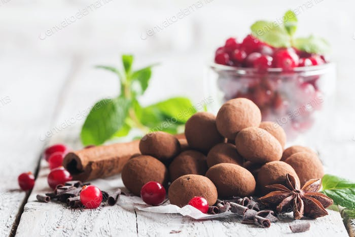 chocolate truffles with cranberry