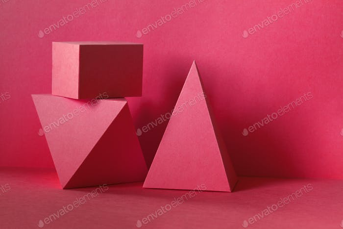 Red abstract geometrical figures background.