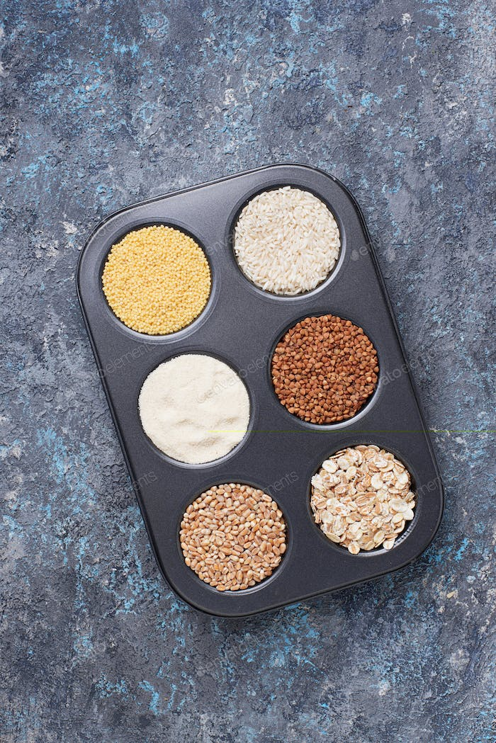 Assortment of different groats and cereals