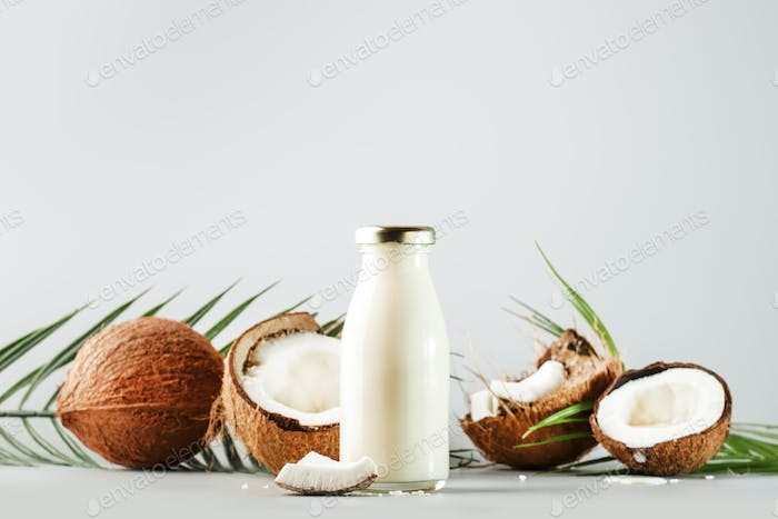 Coconut non dairy vegan milk in bottle with shell