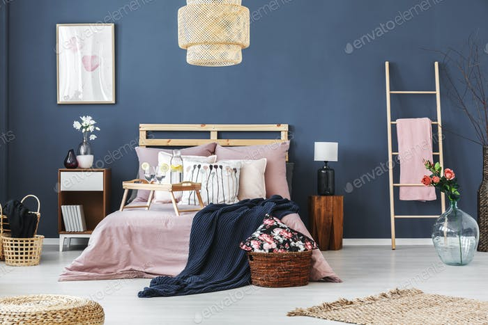 Bedroom with floral motif