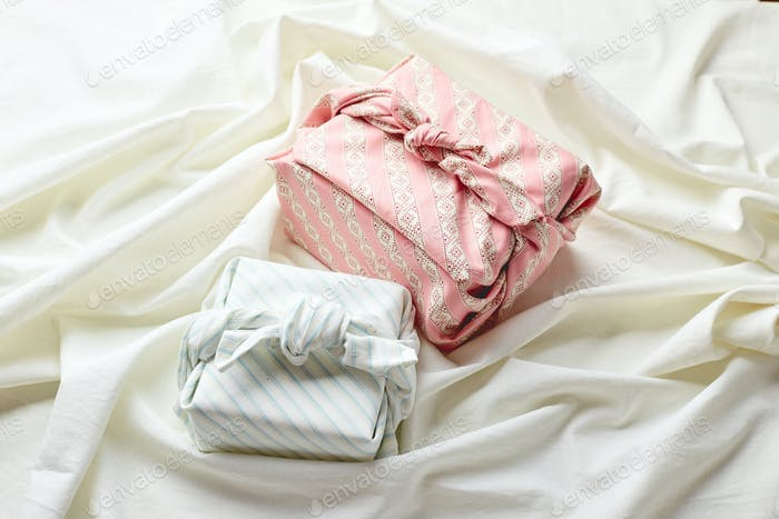 Eco-friendly gift wrap in traditional japanese furoshiki style